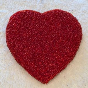 Accessories - Red bugle beaded heart shaped zippered coin purse